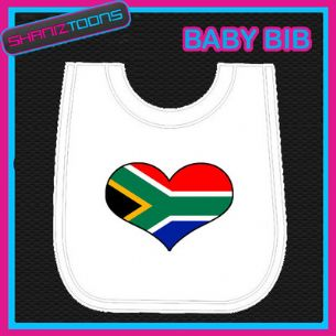 SOUTH AFRICA HEART FLAG I LOVE WHITE BABY BIB EMBROIDERED